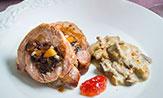 Secreto de cerdo ibérico relleno de frutas secas